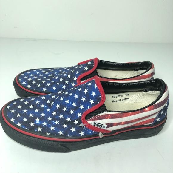 8ca8529a96a51b Vans slip on 7.5 American Flag Stars Stripes. M 5af72f9b45b30cc2cea15ddf